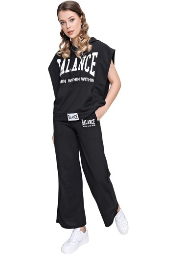 Butikburuç Kadın Mavi Balance Yazı Baskı Eşofman Takım Siyah